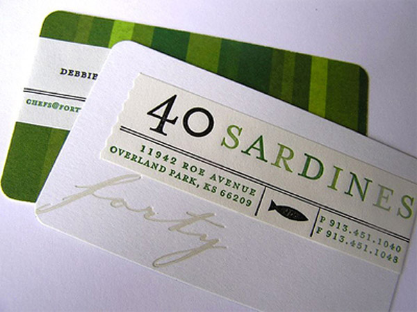 40 sardines 30 Creative Restaurant Business Card