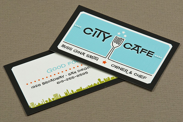 citycafe 30 Creative Restaurant Business Card