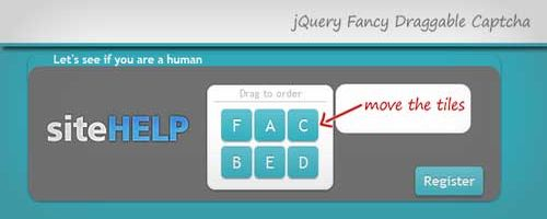 jQuery fancy Draggable Captcha