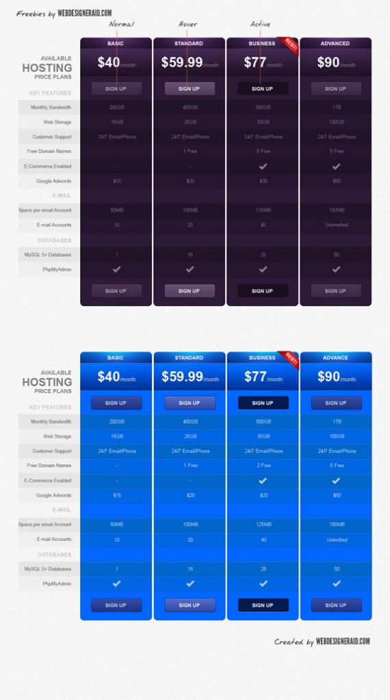 11 best free pricing table design freebies for Pricing table design