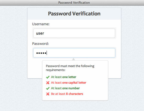 Password strength verification with jQuery