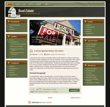 Real Estate Theme Blogger Template