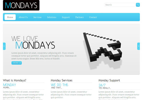 mondays 50 Free jQuery Website Html Templates