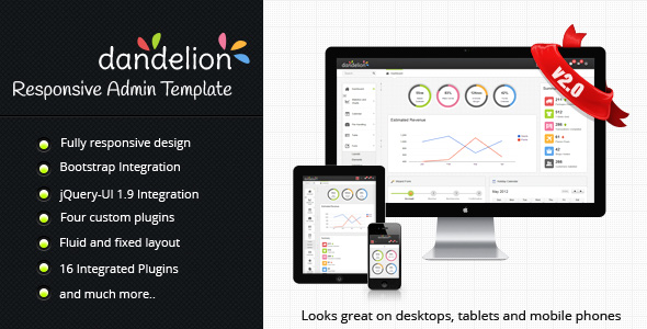 dandelion admin Admin Template for Web Application