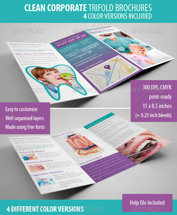clean corporate dental clinic trifold brochure - Healthcare Brochure Templates Free