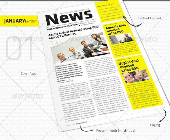 39 best indesign newsletter templates design freebies january march clean newsletter v1 maxwellsz