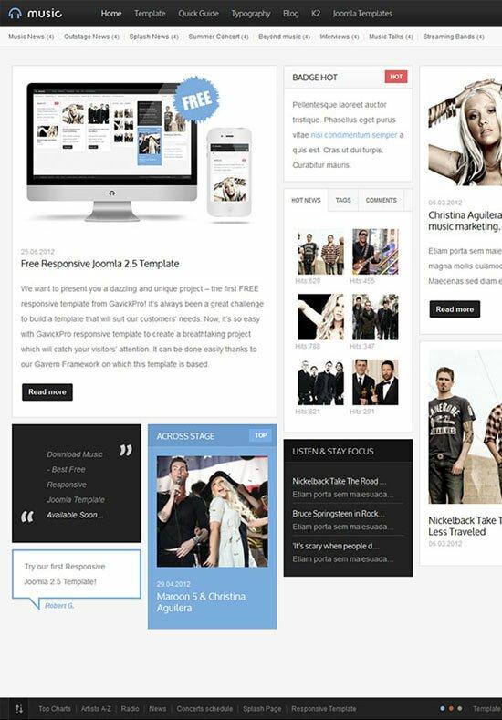 musicfree 20 Free & Premium Joomla Templates