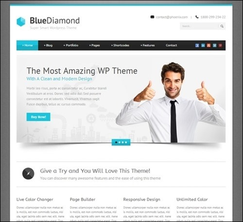 21 nice business wordpress themes design freebies blue diamond is a business wordpress template for your business website its clean minimal with modern style the theme also come with layer slider friedricerecipe Images
