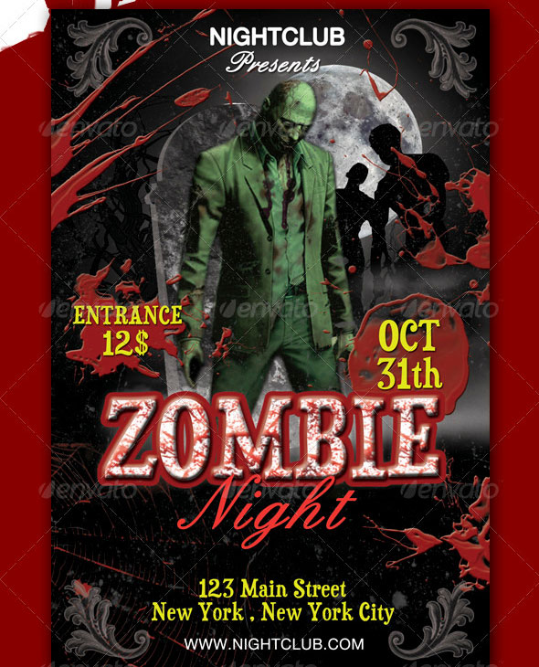 Awesome Zombie Party Flyer Templates  Design Freebies