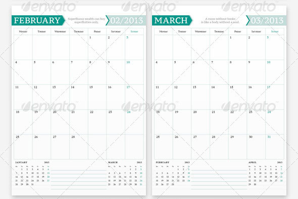 20 beautiful indesign calendar templates design freebies. Black Bedroom Furniture Sets. Home Design Ideas