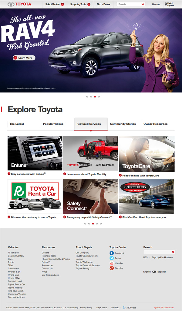 Toyota Official Site >> 12 Great Automotive Website Examples – Design Freebies
