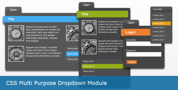 css multi purpose dropdown module