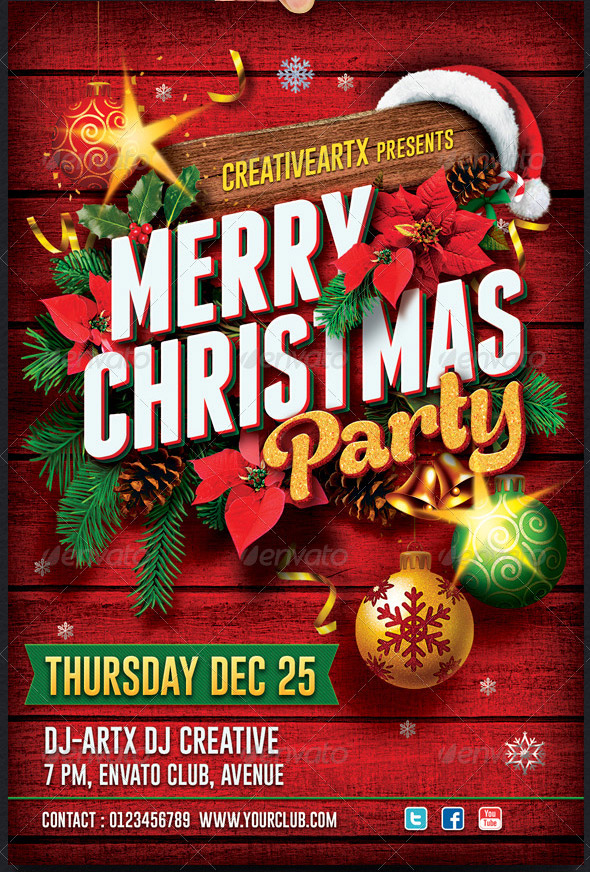 Christmas Party Flyer Template.17 Beautiful Christmas Party Flyer Templates Design Freebies