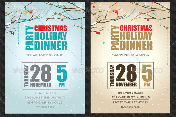 17 Great Christmas Party Invitation Card Eps Ai Psd