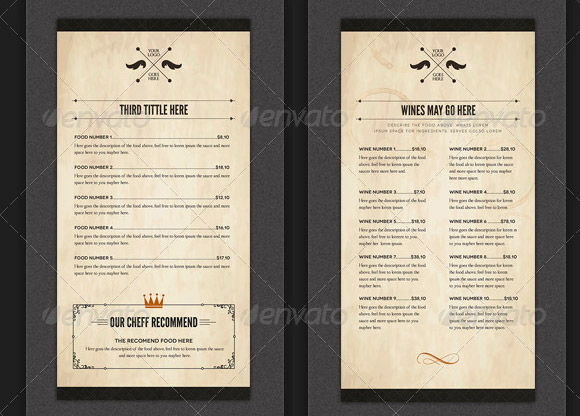 17 useful vintage restaurant menu templates  psd