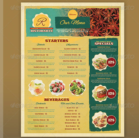 17 useful vintage restaurant menu templates psd for Resturant menu templates