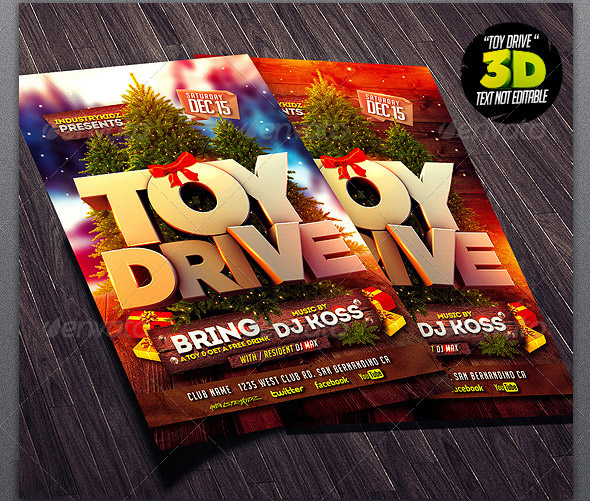 Toy Drive Flyer : Beautiful christmas party flyer templates design freebies