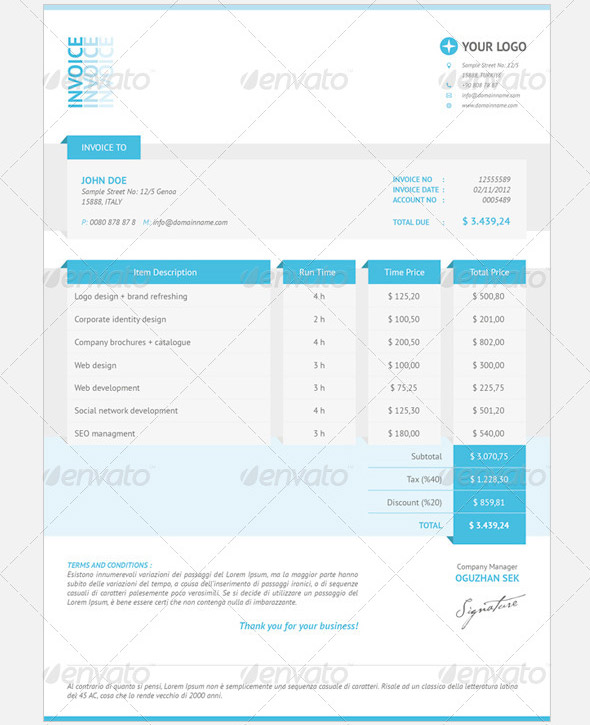 21 useful invoice indesign templates – design freebies, Invoice templates