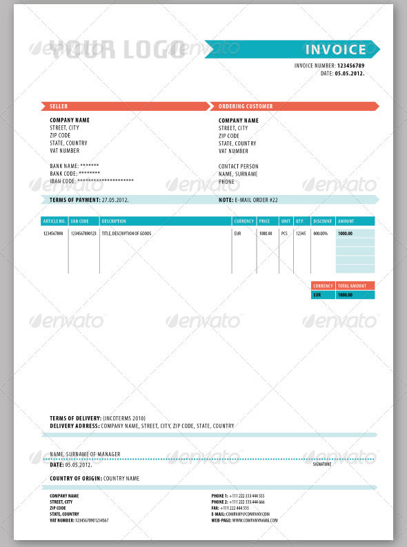 cool invoice template – neverage, Invoice examples