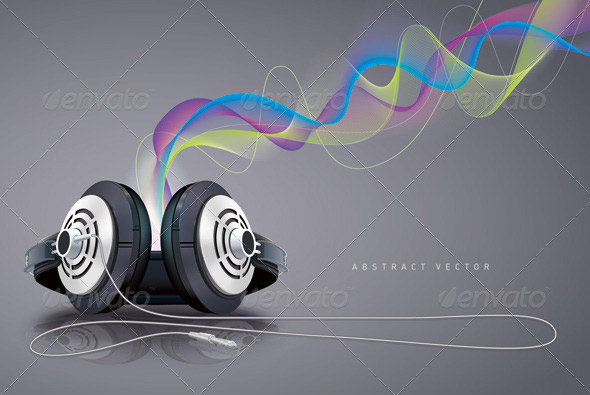 Headphones-and-sound-waves