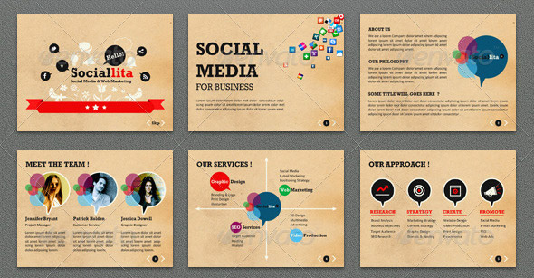 Creative Social Media Powerpoint Presentation Templates