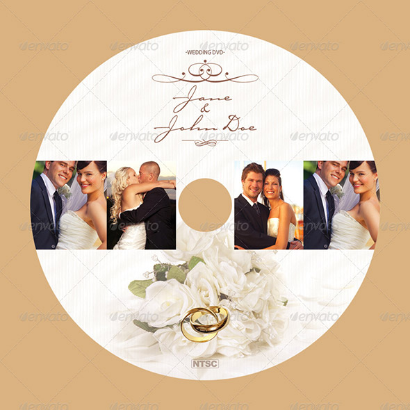 classy wedding dvd cover and disc label artwork.
