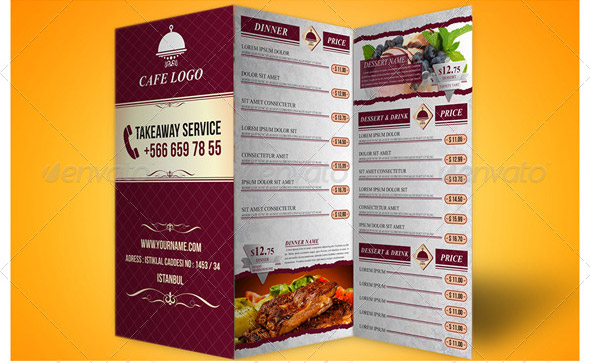 14 Great Tri-Fold Restaurant Menu Psd Templates – Design Freebies