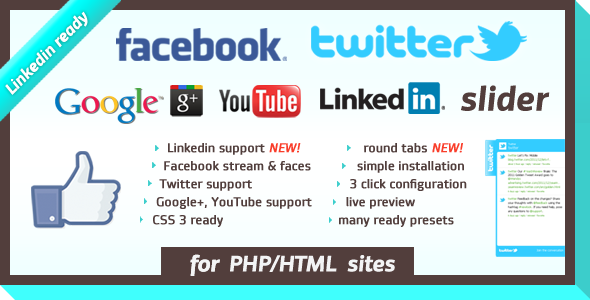 Facebook Likebox:Twitter Slider