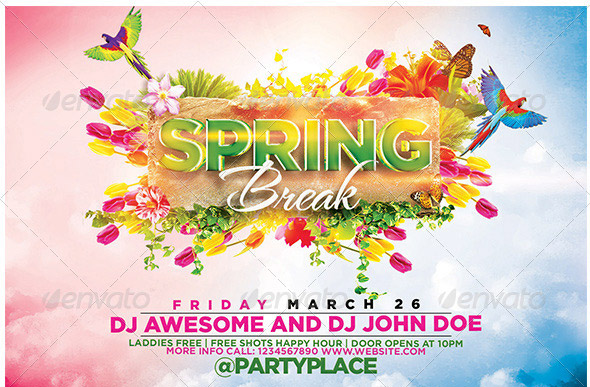 17 Great Spring Break Party Flyer Templates Design Freebies