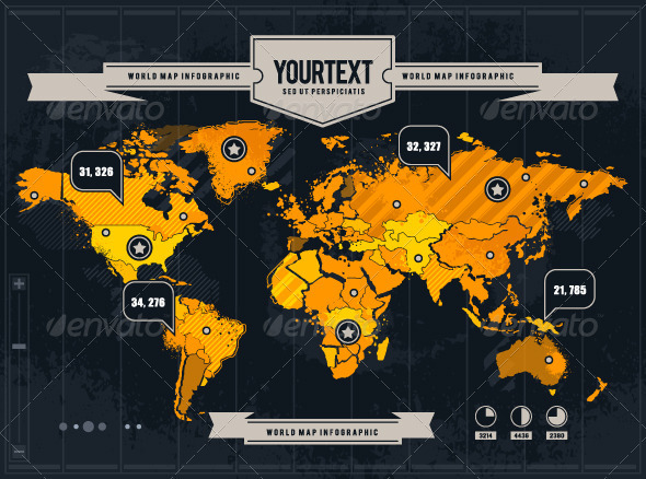 Vector World Map with Grunge and Infographic Elements