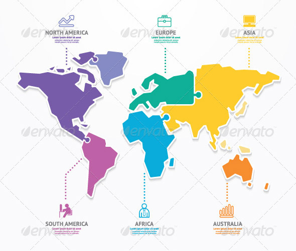 World-Map-Infographic-Template-Jigsaw-Concept