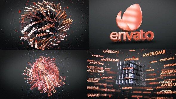 3D Text Shapes Logo Reveal