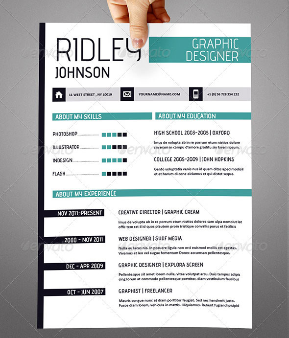 resume indesign template free