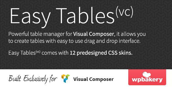 Easy Tables Table Manager for Visual Composer