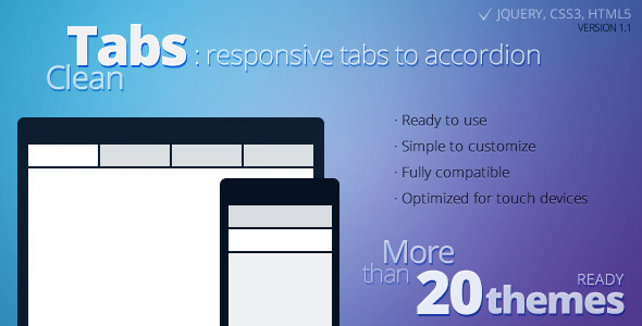 Clean Tabs Responsive Tabs to Accordion