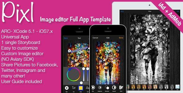 Pixl Full ImagePhoto Editor App Template