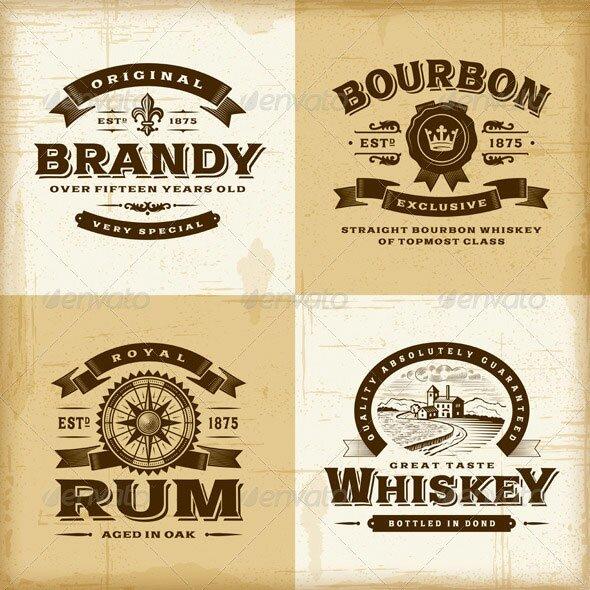 Vintage-Alcohol-Labels-Set