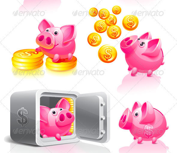 Pink-Piggy-Bank-with-Coins