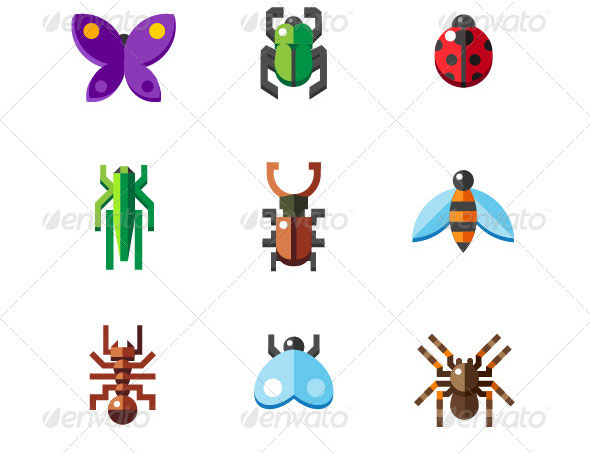 Set-of-Flat-Insect-Bug-Icons