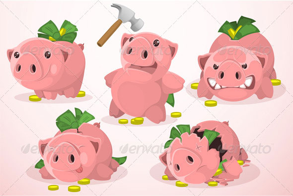 Set-of-Piggy-Bank-in-Different-Situations