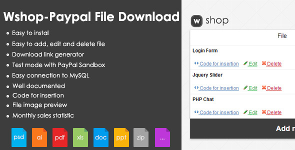 WShop PayPal File Download