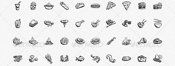 150-Hand-drawn-Food-and-Drinks-Icons