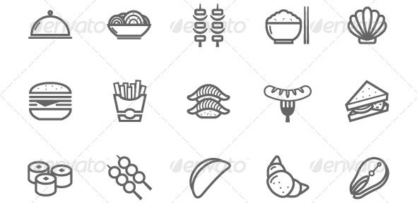 25-Outline-Stroke-Food-Icons