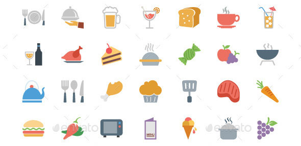 250-Colored-Food-Vector-Icons