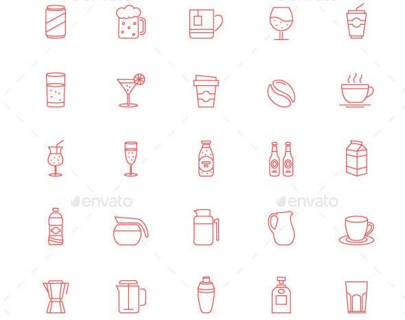 90-Thin-Line-Stroke-Food-and-Beverage-Icons