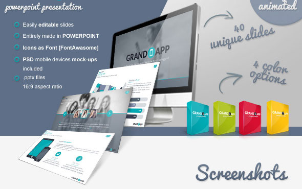 15 beautiful presentation templates for mobile app design freebies powerpoint templates grand app powerpoint presentation toneelgroepblik Choice Image