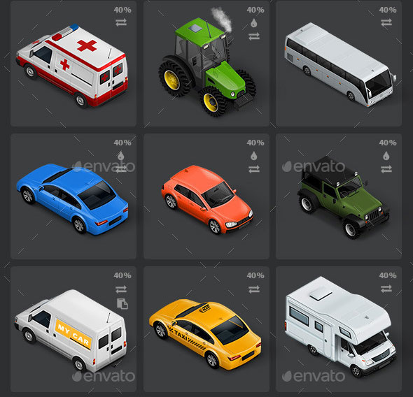 Isometric-Map-Icons-Cars-and-Traffic