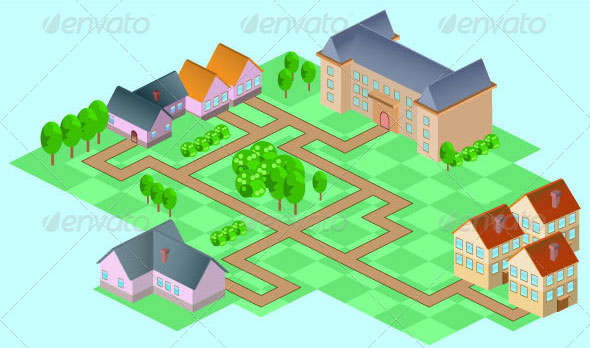 Isometric-Suburban-Buildings-Set