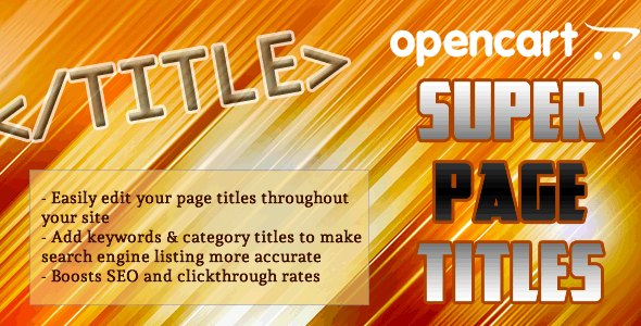OpenCart SEO Super Page Titles