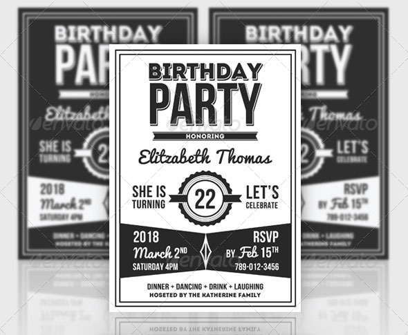 19 great birthday invitation cards psds design freebies retro birthday invitation party more stopboris Choice Image